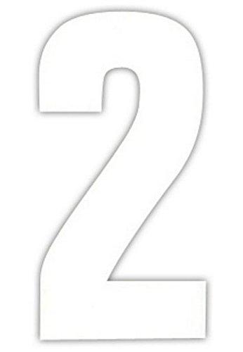 2 große Nummern für Mülltonnen selbstklebend Aufkleber weiße Nummer -2