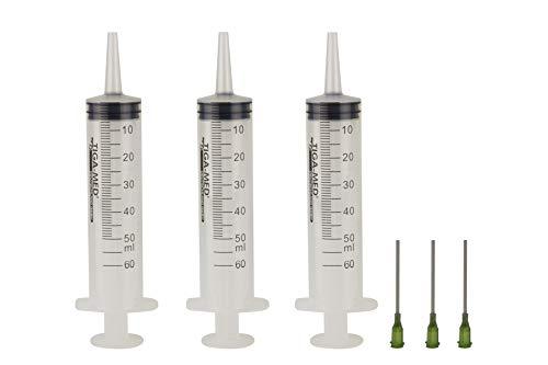 3 Stück Spritzen-Set Hobbyspritze mit stumpfer Nadel verschiedene Größen für Hobby und Heimwerk, Spritzen einzeln steril verpackt 50ml