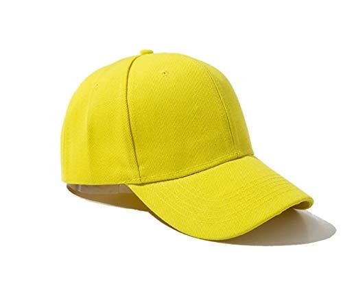 Mdsfe Sommer und Herbstmode einfarbig Männer und Frauen Baseballmützen Selbstklebender Hut Hip Hop Verstellbarer Cooler Sonnenhut Gelb, 54CM60CM