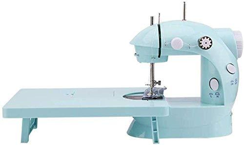 Máquina de coser portable, actualizar larga mesa de la máquina de coser portátil eléctrico portátil de dos hilos de origen dual de la energía de dos velocidades niños a empezar el viaje Máquina de cos
