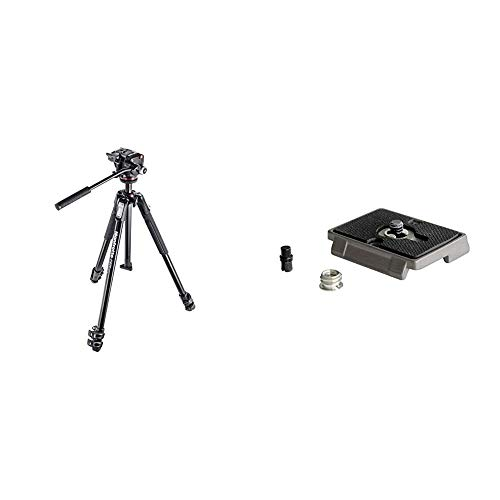 Manfrotto MK190X3-2W Aluminum 3-Section Tripod Kit with XPRO Fluid Head,Black & Quick Release Plate with Special Adapter (200PL)