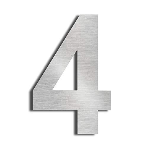 """Nanly – Hausnummer """"2"""" (die Zahl Zwei), aus massivem 304er-Edelstahl, Schwebe-Effekt, 15,3 cm, einfach zu montieren, number 4"""