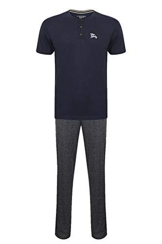 Tokyo Laundry Herren 2 Teile Lounge Kleidung Baumwolle Tops und Unterteile Satz Pyjama - Jamestown - Mitternachtsblau, Größe - Xx Groß