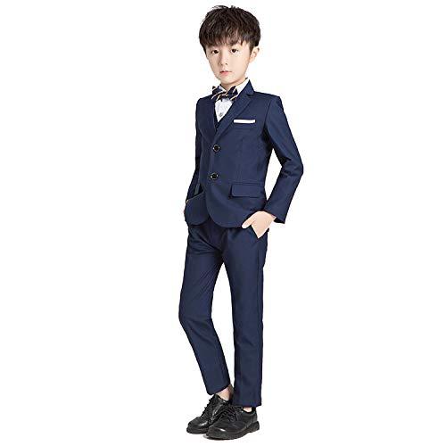 Conjunto de 5 piezas para niños esmoquin Slim Fit traje formal de boda chaqueta chaleco camisa pantalones fiestas de cumpleaños, azul marino, 6-7 Años