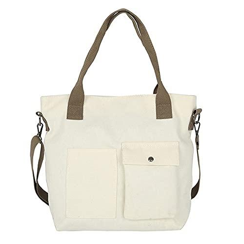 QiKun-Home Nuevo Bolso Coreano de Lona para Mujer en Verano con cinturón Puro Tott Bolso Decorativo de un Solo Hombro Inclinado multipropósito Blanco