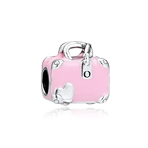 LISHOU Mujer Pandora S925 Plata De Ley Rosa Enemal Maleta Cadena Verano Viajes Encantos Bead Fashion Girl Pulsera Collares Fabricación De Joyas DIY