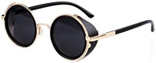 TT WARE Unisex Vintage UV400 Sunglasses Steampunk Round Mirror Lens Glasses-#04