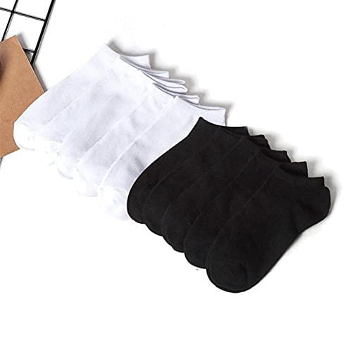 REGJ 10 Pares de Calcetines de Hombre algodón Color sólido Calcetines Cortos Hombres Calcetines Delgados Primavera Verano (Color : 5 Black 5 White)