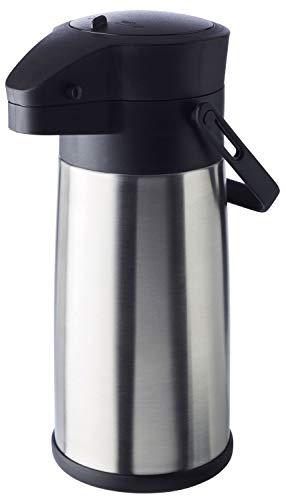 """APS Pump-Isolierkanne """"Budget"""" – doppelwandige Kanne aus mattiertem Edelstahl mit Tragegriff und Dreh-Pumpknopf – für heiße und kalte Getränke – Pumpmechanismus ist leicht zu reinigen"""