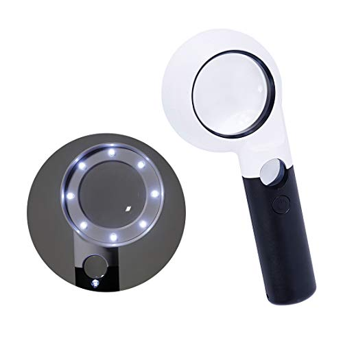 8 + 1 LED-handvergrootglas, 7 x 20 x vergrootglas met dubbele vergrootglas, hoge helderheid, voor inspectiestudio, hobby