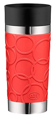 alfi 5635.202.035 Coffee To Go Trinkbecher isoMug Plus Soft, Edelstahl Feuerrot 0,35 l, Spülmaschinenfest, zerlegbarer Verschluss, 4 Stunden heiß