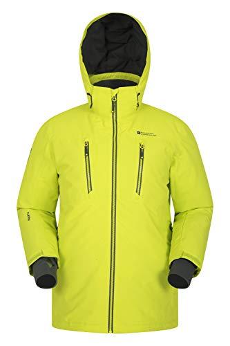Mountain Warehouse Galaxy Herren Skijacke - Versiegelte Nähte, wasserfeste Snowboardjacke, atmungsaktive Winterjacke, Abnehmbarer Schneerock, Skipassfach Helles Gelb S