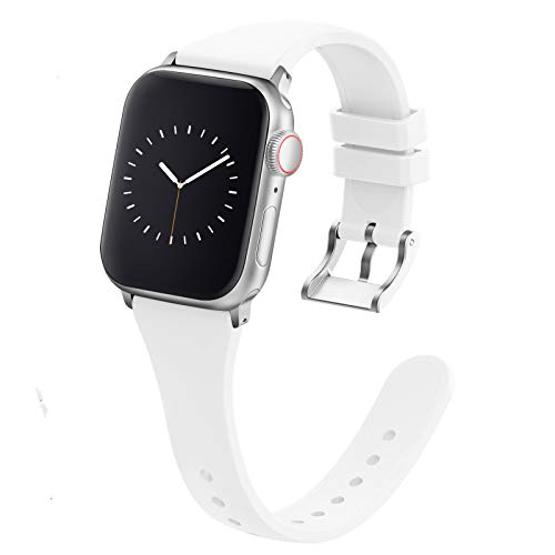 Compatible with Apple Watch Bands 38mm 40mm 42mm 44mm for Women Men, Adepoy Soft Silicone Narrow Slim Replacement Sport Wristbands for iWatch Series 6 5 4 3 2 1 SE (42mm 44mm, Small White)