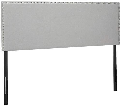 Zinus Upholstered Nailhead Rectangular Headboard in Light Grey, Queen