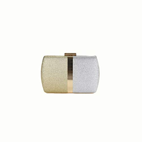Y-hm fashion design Women's new contrast colour stitching uncomplicated chain clutch Lightweight and durable (Color : Gold and silver, Size : 19 * 6.5 * 13)