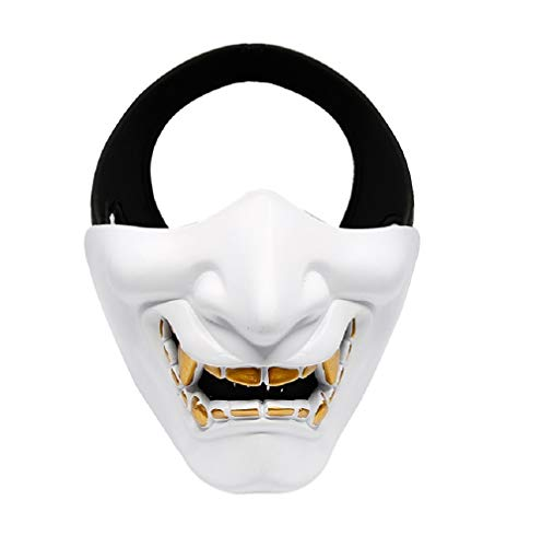 Japanese Airsoft Protective Oni Half Face Mask Outdoor CS War Game Tactical Prajna Hannya Motorcycle Evil Demon Knight Kabuki Headgear (White)
