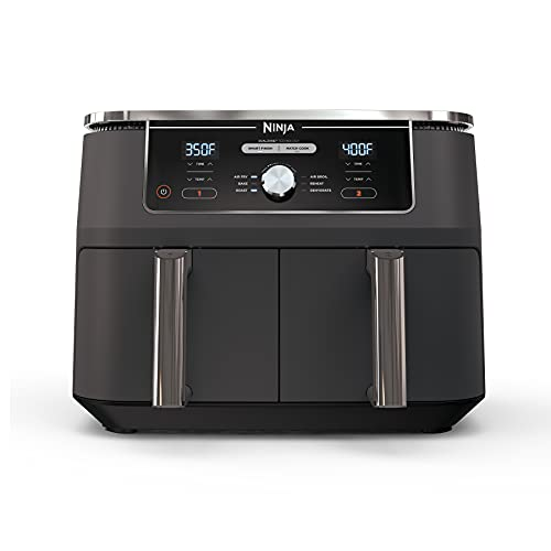 Ninja DZ401 Foodi 6-in-1 10 Quart XL 2-Basket Air Fryer with DualZone Technology, with 2 Crisper Plates & 2 Independent Baskets, for Larger Portion Meals, Grey