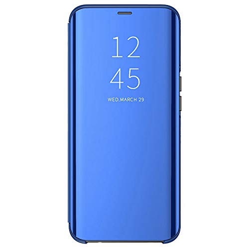 Alamo Mirror Folio Case for OPPO Find X3 Pro, Premium Smart View Cover with Clear Time Window - Blue