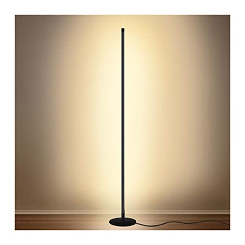 Modern Floor Lamp Led Standing Corner Lamp Black Decor Floor Lamps Contemporary Metal Floor Lamp for Living Room Bedrooms with Remote & Touch Control