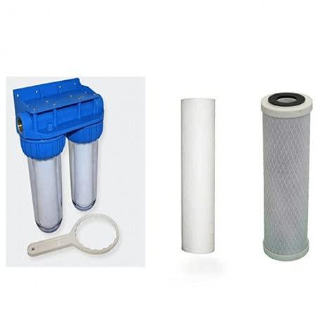Desineo Pack de Filtration d'eau Double Porte Filtre Plus Filtre Anti sédiment 10 microns et Filtre à Charbon 5 microns