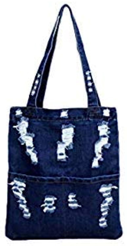 Bloomerang Fashion Women Canvas Denim Tote Large Capacity Handbag Shopping Book Student Organizer Single Shoulder Bag Bolsa Feminina color Navy blueee