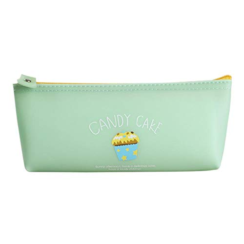 Drawihi Pencil Case Cute Little Cake Pattern Silicone Stationery Storage Bag Suitable for Students to Organize Pencils Rulers and School Supplies Light Green