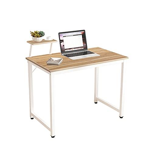DlandHome Mesa de Ordenador 100x50cm con Panel de Soporte Escritorio de Oficina Mesa de Estudio Puesto de Trabajo Mesa de Despacho, Roble & Blanco