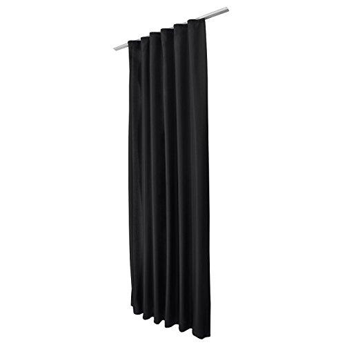 Beautissu Cortina de Trabillas correderas Amelie DK- 140x175 cm Negro