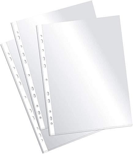 Folleto de fundas A4, fundas de plástico perforadas A4, A4, funda de plástico A4, perforadas, transparentes, apertura en la parte superior, 10 unidades.