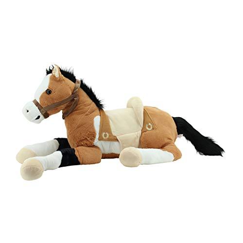 Sweety Toys Plüsch 6502 Lucky XXL Riesen Pferd liegend mit Sattel, Braun Beige