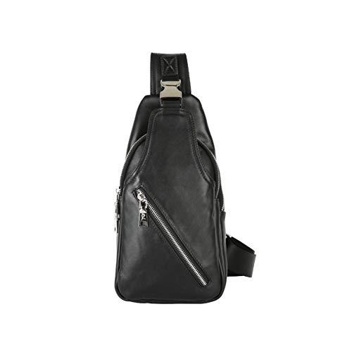 LederleiterEU Brusttasche Leder Herren Sling Bag aus Rindsleder Sling Rucksack Vintage Schwarz Schulterrucksack für Arbeit und Alltag