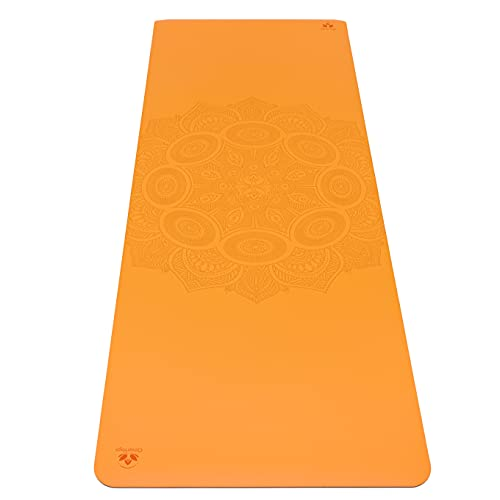 Non-Slip Yoga Mat - Stays Fresh And Odor-Free - Grippy Cushy And Spacious - Made From Best Natural Tree Rubber - Great For Hot Yoga, Pilates, Exercise Includes Carry Bag With Strap (Orange)