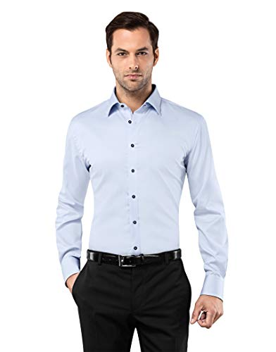 Vincenzo Boretti Camisa de Hombre, Ajustada Entallada (Slim-fit), 100% algodón, Manga-Larga, Cuello Kent, con entredós de Contraste, Lisa - no Necesita Plancha Azul Hielo 37-38