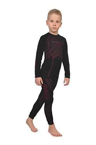 Freenord NORDE THERMOTECH Kinder Sport Thermoaktiv Atmungsaktiv Funktionswäsche (Hemd + Hose) Set (Rot, 110/116)