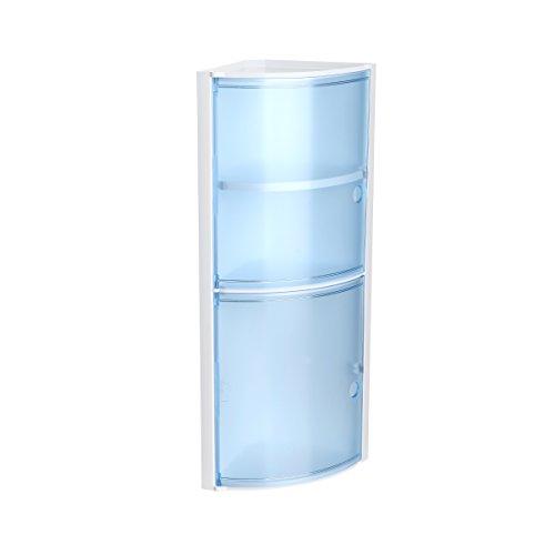 Tatay Armario plástico rinconero, Color Blanco y 2 Puertas sin pomos en Color Azul translúcido, y Estante Interior removible. Medidas 20x20x62,5 cm.