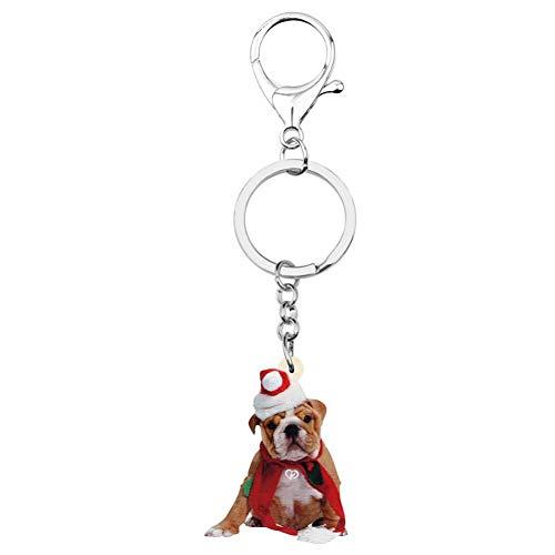 HXYKLM acryl kerstmuts Bulldog hond sleutelhangers dier sleutelhangers handtas auto portemonnee sleutelhangers voor vrouwen meisjes decoratie cadeau