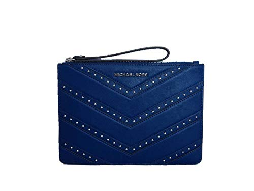 """Crafted in pebbled leather with silver-tone hardware. Zip-top closure. 6.5"""" wrist strap. Exterior: Chevron style with studs detail and MK logo lettering hardware across the front. Interior: Logo lining; 6 credit card slots and one multifunction slip ..."""