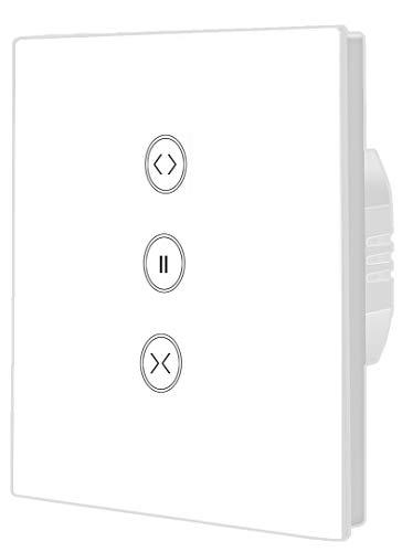 1 temporizador de persiana con interruptor táctil WiFi inteligente compatible con Alexa Echo y Google Assistant, mando a distancia y función de temporizador.
