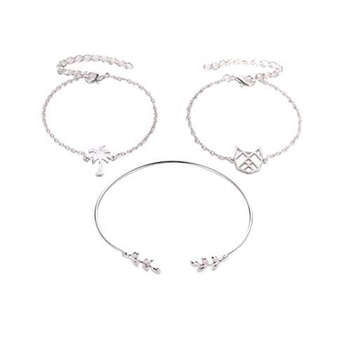 #N/A Bohemia - Juego de pulseras ajustables con cadena de oro y hojas de gato hueco en forma de...