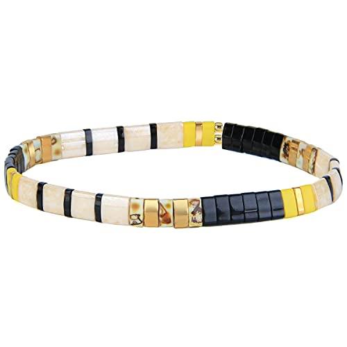 KANYEE Bracelet en Perles Plaqué Or Bracelets D'amitié Faits À La Main Bracelets Réglables Bijoux Cadeau pour Les Femmes