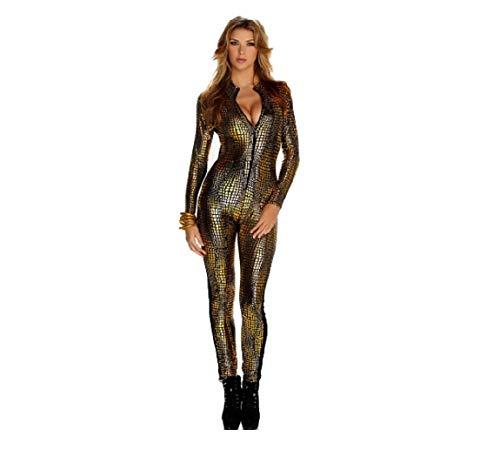 GGTBOUTIQUE Top Totty Vrouwen Glanzende Sexy Catsuit Snakeskin Patroon Unitard Faux Lederen Jumpsuit Catsuit Dancewear