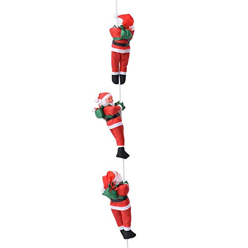 MYSTICALL Décorations d'arbre de Noël pendentif, échelle de corde d'escalade Père Noël, poupée Noël en plein air décoration de décoration de Noël, 30cm