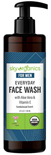 Everyday Face Wash for Men by Sky Organics (6 fl oz) USDA Organic Daily Face Cleanser with Aloe Vera & Vitamin E for All Skin Types Cruelty-free