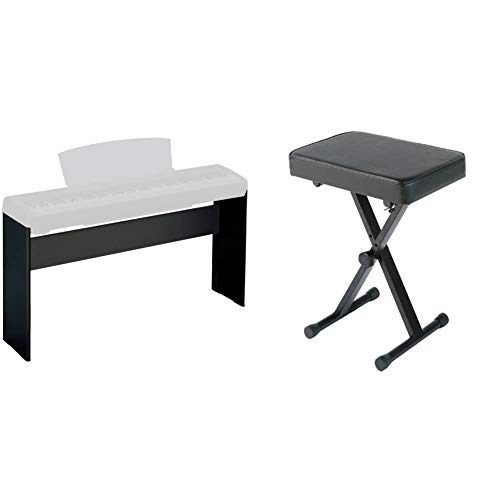 Yamaha L85 Keyboard Stand, Black & PKBB1 Adjustable Padded Keyboard X-Style Bench, Black,19.5 Inches