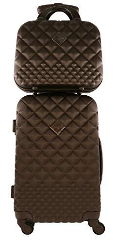 CAMOMILLA Milano Gepäck-Set, Koffer-Set, Handgepäck (40 l) + Kosmetikkoffer (15 l), Hartschalen, 360° drehbare Rollen, 3-stelliges Zahlenschloss, Farbe Braun