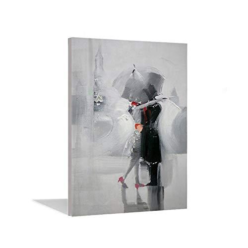 Dipinto ad olio moderno astratto coppia ombrello danza pittura ad olio tela decorazione parete parete casa salotto arte arte hotel hall Decor regalo 100 x 150 cm senza cornice