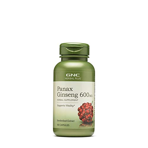 GNC Herbal Plus Panax Ginseng 600mg, 100 Capsules, Supports Vitality
