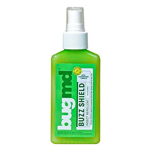 BugMD - Buzz Shield Mosquito Spray - Lemongrass Oil and Vanillin Infused - DEET-Free, Safe to Use Around Kids, Pets, & Directly On Fabrics - Natural Oil-Based, for Indoor and Outdoor Protection