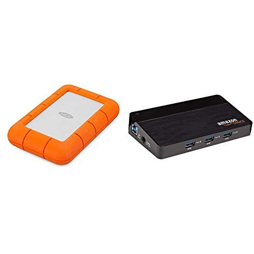 LaCie Rugged Mini 4 TB External Hard Drive Portable HDD – USB 3.0 USB 2.0 Compatible, Drop Shock Dust Rain Resistant Shuttle Drive & Amazon Basics 10-Port USB 3.0 Hub