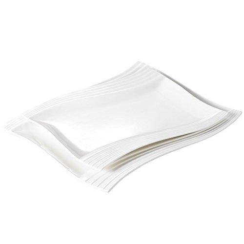 Malacasa 2 Piece Plates Set Porcelain Large Serving Platters Tray Rectangular Plate White, Series Amparo